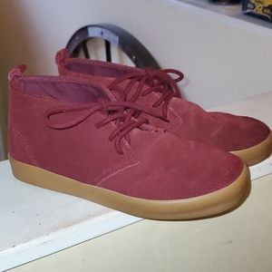 Suede maroon lace up shoes